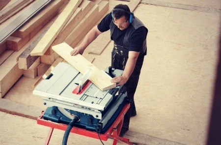 Table saw cutting large panels.